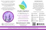 Massage Oil (Lavender Orange) Pure Energy Apothecary Label