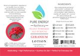 Geranium All Purpose Moisturizing Lotion 2 oz Pure Energy Apothecary Label