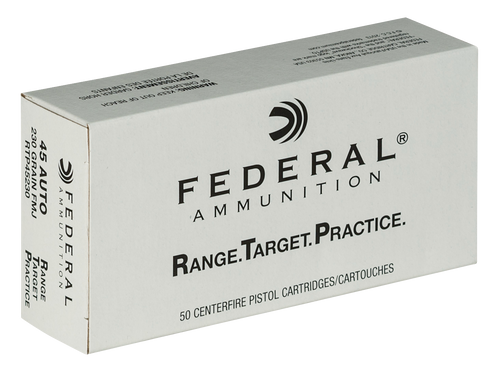Federal RTP45230 Range and Target 45 ACP 230 gr Full Metal Jacket (FMJ) 50 Bx