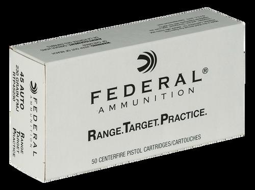 Federal RTP45230 Range and Target 45 ACP 230 gr Full Metal Jacket (FMJ) 50 Bx