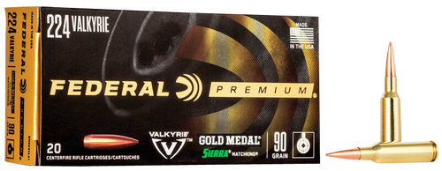 Federal Gold Medal .224 Valkyrie Ammo 90 Grain Sierra MatchKing 20rds/Box