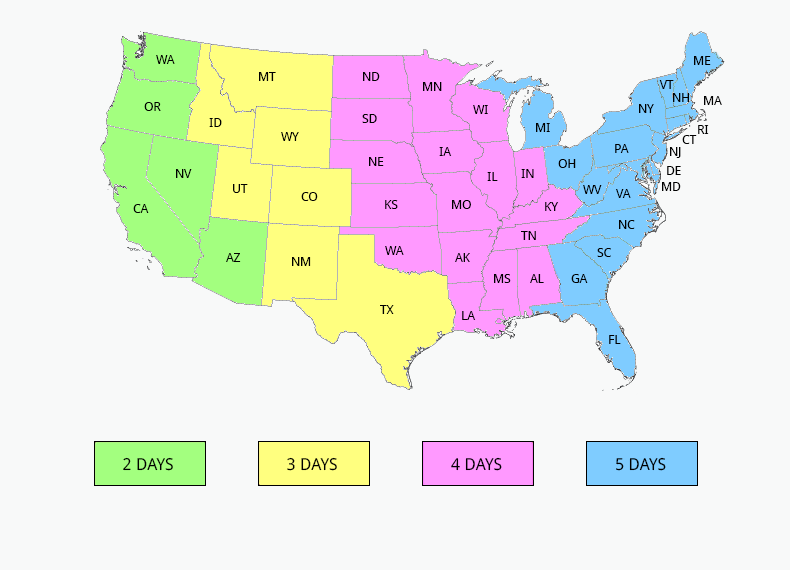 Free US Shipping Map with States Abbreviations