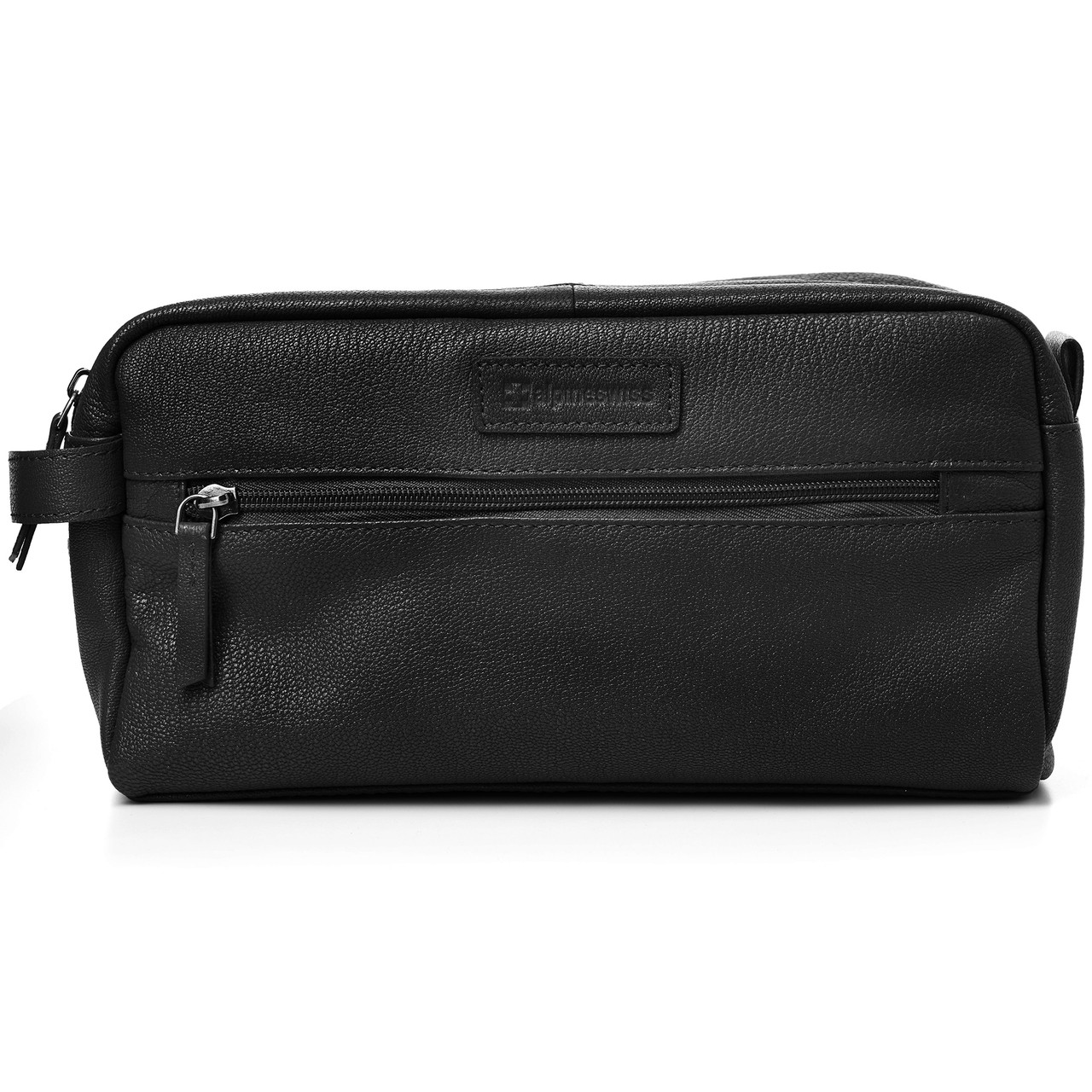 76f64ec5c907 Alpine Swiss Sedona Toiletry Bag Genuine Leather Shaving Kit Dopp ...