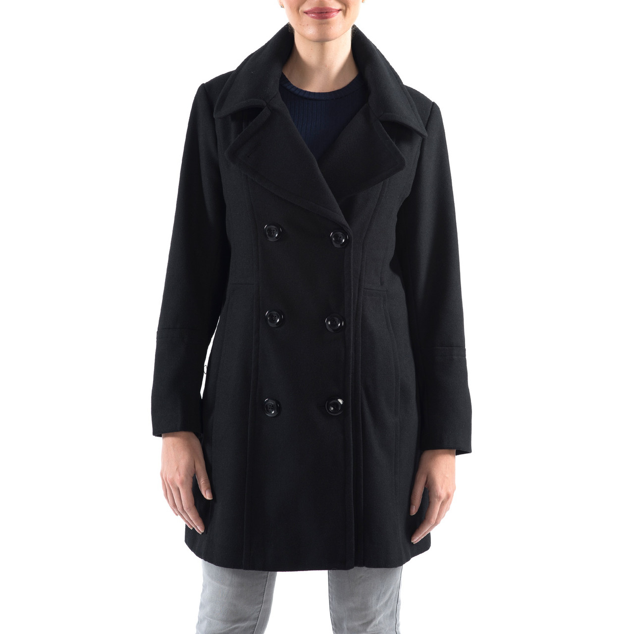 e1886c3540 Alpine Swiss Norah Womens Wool Blend Double Breasted Peacoat