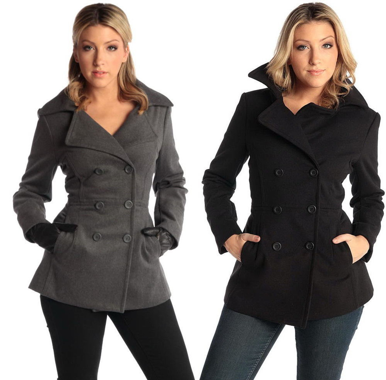 enjoy complimentary shipping closer at highly coveted range of Alpine Swiss Emma Womens Wool 3/4 Length Double Breasted Peacoat