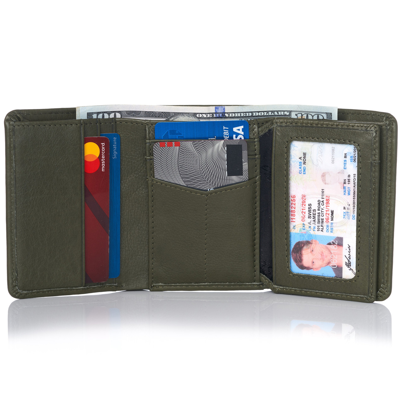 New Trifold Leather Man's wallet 9 credit card space 2 ID windows 2 billfolds BN