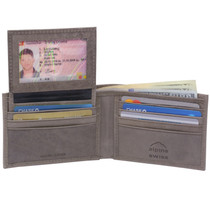 Alpine Swiss Mens Leather Bifold Wallet Removable Flip Up ID Window