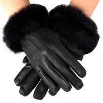 Alpine Swiss Womens Leather Dressy Gloves Rabbit Fur Trim Cuff Thermal Lining