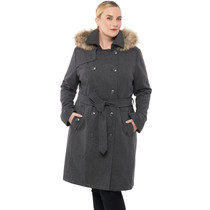 Alpine Swiss Womens Parka Trench Pea Coat Belt Jacket Fur Hood Reg & Plus Sizes