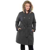 Alpine Swiss Womens Wool Parka Jacket Removable Fur Hood Belted Trench Coat