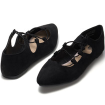 Alpine Swiss Elena Womens Pointed Toe Ballet Flats Strappy Slip-On Flat Shoes