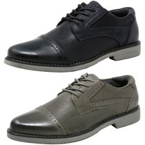 Double Diamond by Alpine Swiss Mens Genuine Leather Cap Toe Oxford Dress Shoes