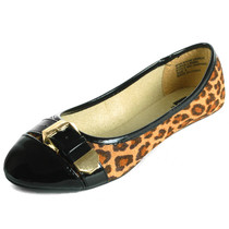 Alpine Swiss Daphne Womens Black Cheetah Print Gold Buckle Cap Toe Flats