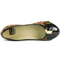Alpine Swiss Daphne Womens Black Cheetah Print Gold Buckle Cap Toe Flats
