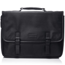 "Alpine Swiss Genuine Leather 15.6"" Laptop Briefcase Flap Over Messenger Bag"