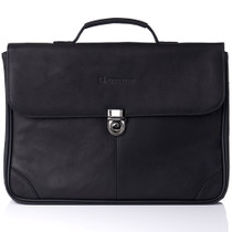 Alpine Swiss Business Portfolio Genuine Leather Briefcase Flap-Over Locking Case
