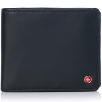 Alpine Swiss RFID Mens Wallet Deluxe Capacity Passcase Bifold With Divided Bill Section