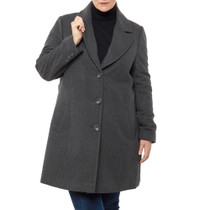 Alpine Swiss Womens Plus Size Wool Overcoat Classic Notch Lapel Walking Coat