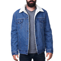 Alpine Swiss Ryker Mens Sherpa Lined Denim Trucker Jacket