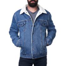 Alpine Swiss Ryker Mens Sherpa Lined Denim Trucker Jacket