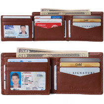 Alpine Swiss Mens Spencer RFID Bifold Wallet 2 ID Windows Divided Bill Section Smooth Leather Comes in a Gift Box