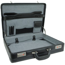 Alpine Swiss Expandable Leather Attache Briefcase Dual Combination Locks