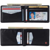 Alpine Swiss Delaney Men's Slimfold RFID Protected Wallet Nappa Leather Comes in a Gift Box