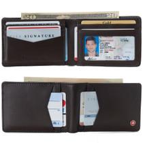Alpine Swiss Men's Delaney Slimfold RFID Safe Slim Bifold Wallet Smooth Leather Comes in Gift Box