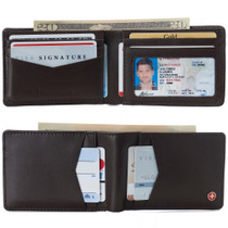 Alpine Swiss Men's Delaney Slimfold RFID Safe Slim Bifold Wallet Smooth Leather Comes in Gift Box