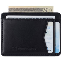 Alpine Swiss Mens Oliver RFID Safe Minimalist Front Pocket Wallet Smooth Leather Comes in a Gift Box
