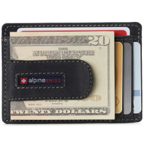 Alpine Swiss Dermot Mens RFID Safe Money Clip Front Pocket Wallet Leather Comes in Gift Box