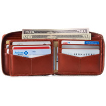 Alpine Swiss Logan Mens RFID Safe Zip Around Wallet Cowhide Leather Zipper Bifold with Gift Box