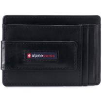 Alpine Swiss Harper Mens RFID Slim Front Pocket Wallet Magnetic Money Clip ID Card Holder Leather