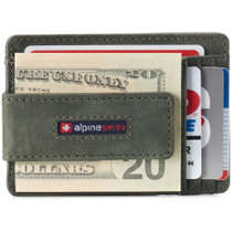 Alpine Swiss Harper Mens RFID Slim Front Pocket Wallet Magnetic Money Clip ID Card Holder Leather
