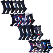 Alpine Swiss Mens Cotton 24 Pack Dress Socks Solid Ribbed Argyle Shoe Size 6-12