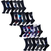 Alpine Swiss Mens Cotton 24 Pack Dress Socks Solid Ribbed Argyle Shoe Size 6-12
