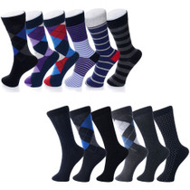 Alpine Swiss Mens Cotton 12 Pack Dress Socks Solid Ribbed Argyle Shoe Size 6-12