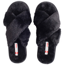 Alpine Swiss Fiona Womens Fuzzy Fluffy Faux Fur Slippers Memory Foam Indoor House Shoes