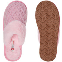 Alpine Swiss Grace Womens Cable Knit Memory Foam Scuff Slippers