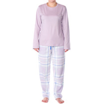 Alpine Swiss Womens Pajama Set Long Sleeve Shirt and Polar Fleece Pants Sleepwear
