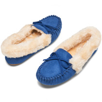 Alpine Swiss Leah Womens Shearling Moccasin Slippers Faux Fur Slip On House Shoes