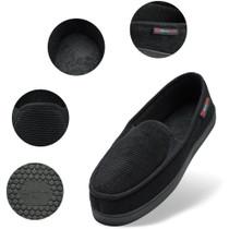 Alpine Swiss Steve Mens Wide Moccasin Slippers Memory Foam Slip On Indoor House Shoes