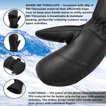 Alpine Swiss Mens Waterproof Gauntlet Ski Mittens Winter Sport Gloves Snowboarding Windproof Warm 3M Thinsulate