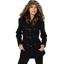 Alpine Swiss Duffy Womens Wool Coat Fur Trim Hooded Parka Jacket