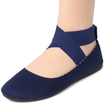 Alpine Swiss Peony Womens Ballet Flats Elastic Ankle Strap Shoes Slip On Loafers