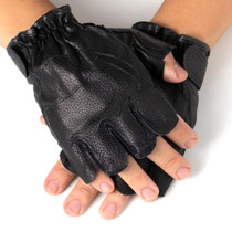 Alpine Swiss Mens Fingerless Gloves Genuine Leather for Workout Training Riding