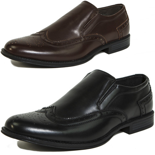 Alpine Swiss Basel Mens Dress Shoes Brogue Medallion Wing Tip Slip On Loafers
