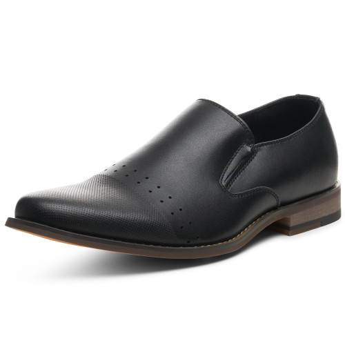 Alpine Swiss Double Diamond Mens Leather Slip-On Loafers Dress Shoes
