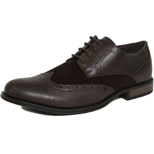 Alpine Swiss Zurich Mens Wing Tip Oxfords Two Tone Brogue Medallion Dress Shoes