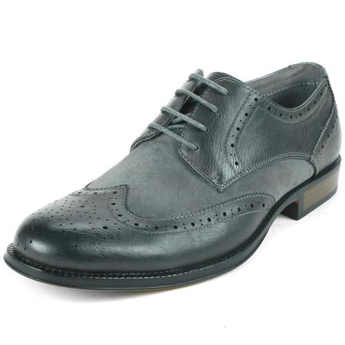 Alpine Swiss Mens Lace Up Oxfords Suede Cap Toe Dress Shoes GRY 11